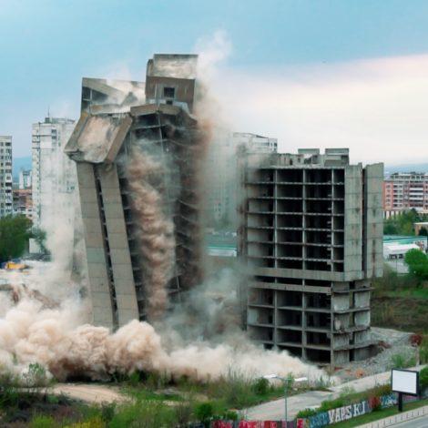 Controlled explosion for demolition of IPK Rodina Sofia 26.04.2020